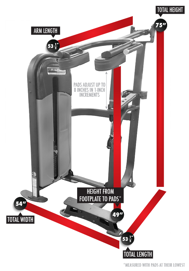 SelectEDGE Standing Calf Raise 1115 Dimensions