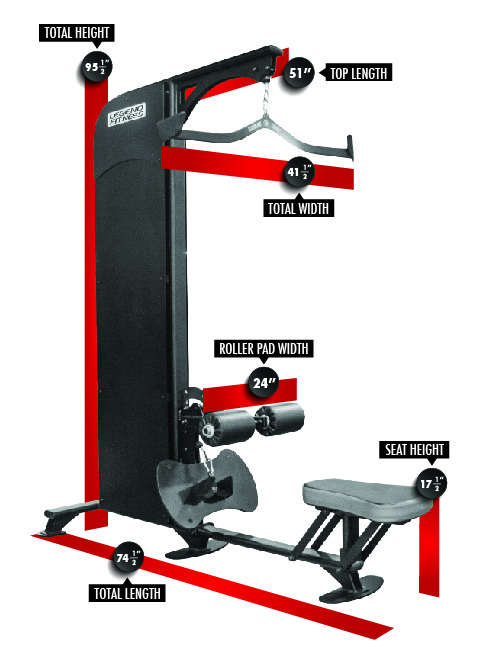 1120 SelectEDGE Lat Pulldown/Low Row Combo Dimensions