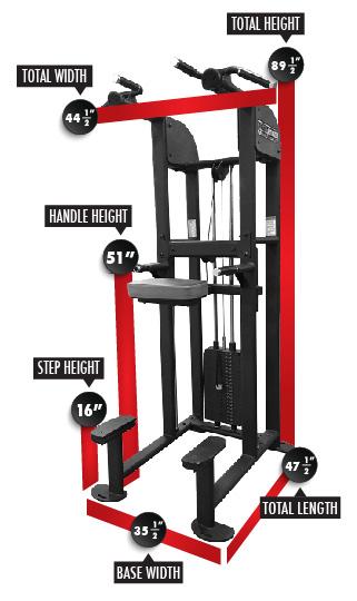 1122 SelectEDGE Dip/Chin Assist Combo Dimensions