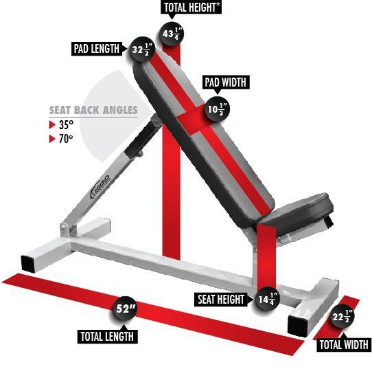 Incline Utility Bench 3101 Dimensions