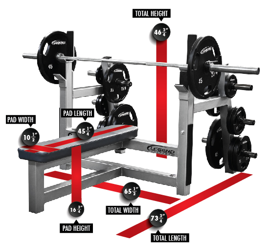 3150 Olympic Flat Bench with Plate Storage Dimensions