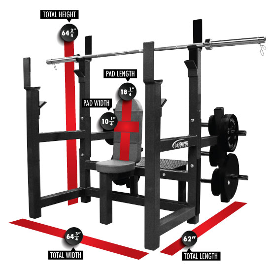 3156 Olympic Shoulder Bench with Plate Storage Dimensions