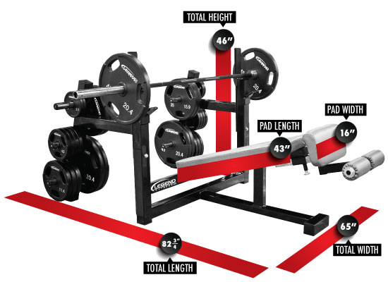 3157 Olympic Decline Bench with Plate Storage Dimensions