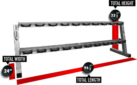 3169 Ten Pair Pro Style Dumbbell Rack Dimensions