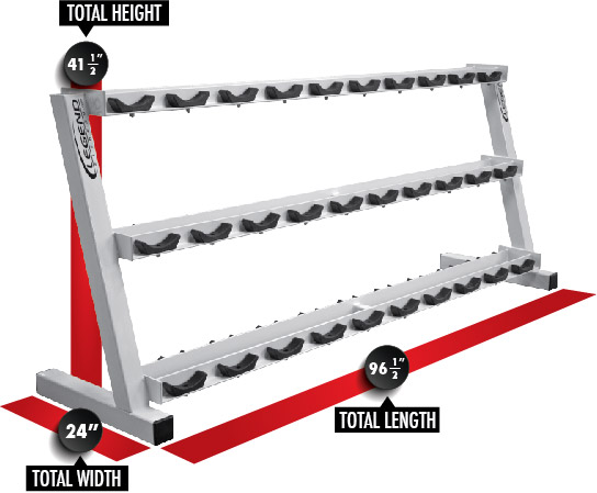 3191 Three-Tier Pro Style Dumbbell Rack Dimensions