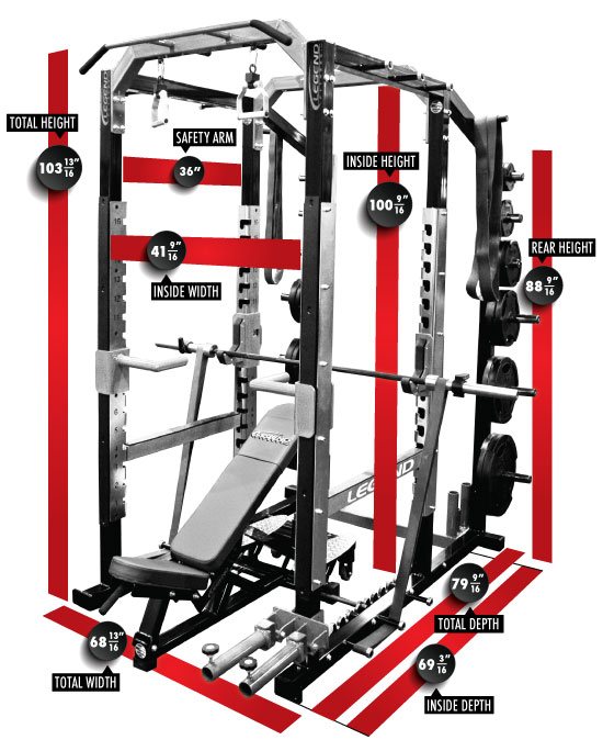 3221 PRO SERIES Power Cage Dimensions