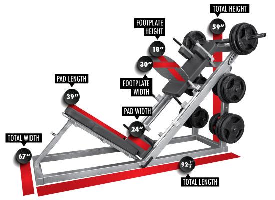 3224 Leg Press/Hack Squat (PL) Dimensions