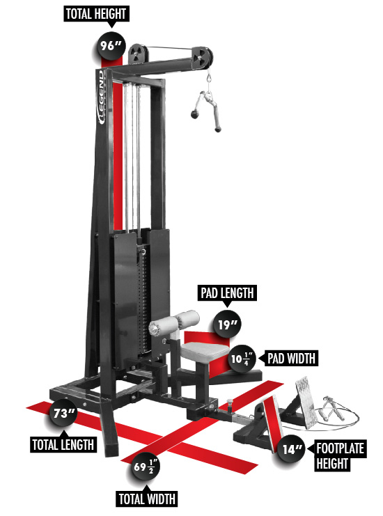 3228 PRO SERIES Seated Lat/Floor Row Dimensions