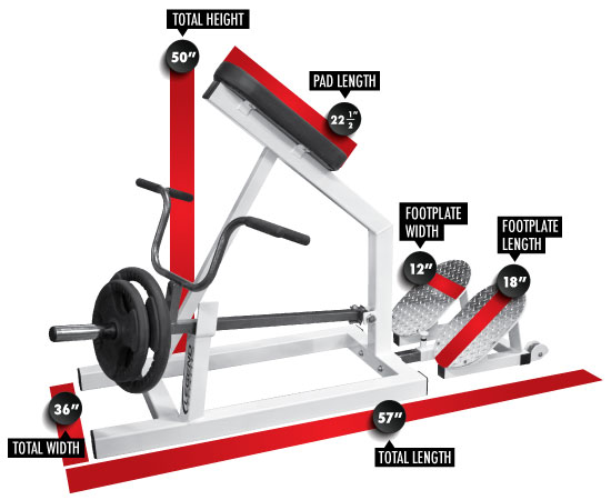 3229 PRO SERIES Incline Lever Row Dimensions
