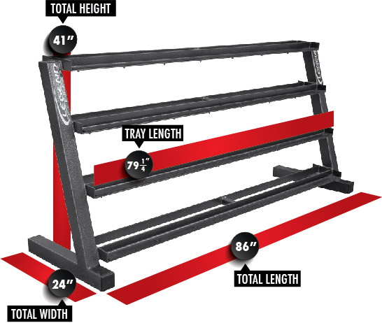 3239 Four-Tier Hex Head Dumbbell Rack Dimensions