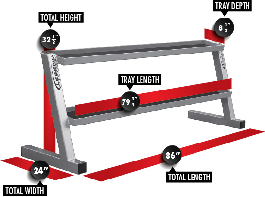 3245 Long Kettlebell Rack Dimensions