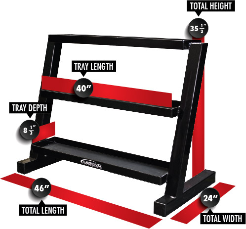 3317 Short Three-Tier Kettlebell Rack Dimensions