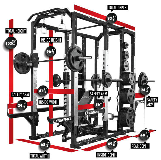 3321 PRO SERIES Triple Power Cage Dimensions