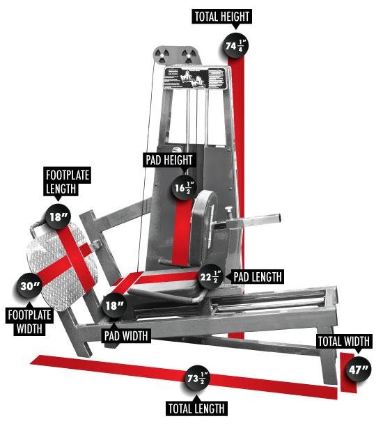 931 Seated Leg Press Dimensions