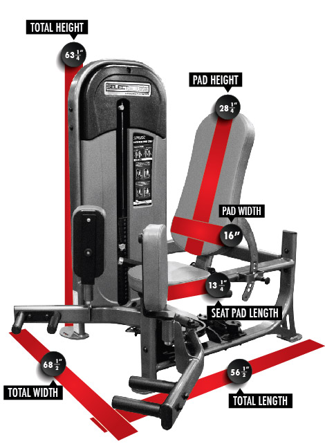 1123 SelectEDGE Inner/Outer Thigh Combo Dimensions