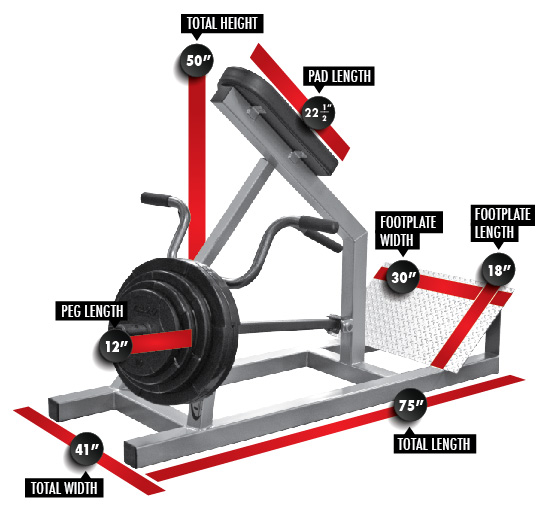 3110 Incline Lever Row Dimensions
