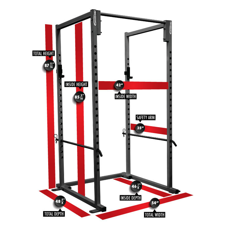 3121-V Varsity Power Rack Dimensions