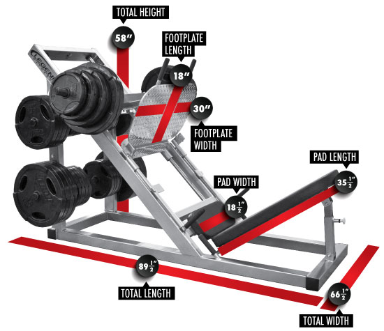 3122 Angle Leg Press Dimensions