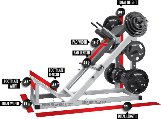 3123 Hack Squat Dimensions