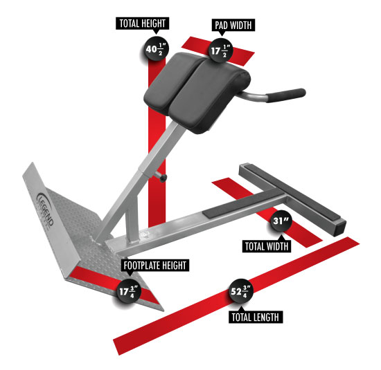 3127 45 Degree Hyperextension Dimensions