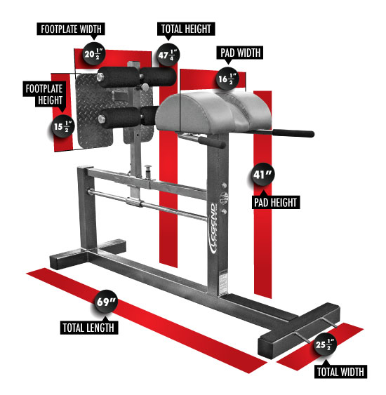 3130 Glute/Ham Developer GHD Dimensions
