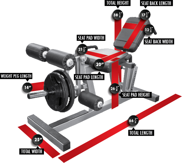 3135 Leg Extension/Curl (PL) Dimensions