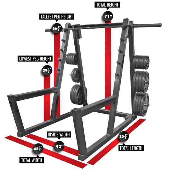 3138 Peg Squat Rack Dimensions