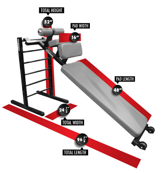 3176 Sit-Up Board & Ladder Dimensions
