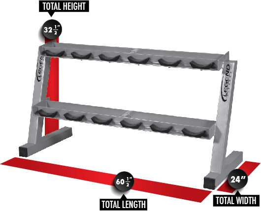 3190 6 Pair Pro Style Dumbbell Rack Dimensions