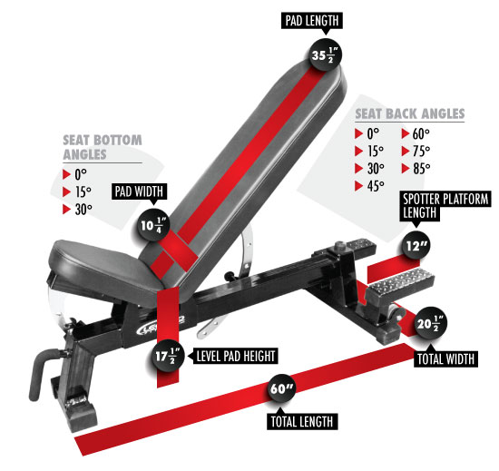 3216 Three-Way Utility Bench with Spotter Platform Dimensions