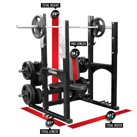 3242 PRO SERIES Olympic Shoulder Bench Dimensions
