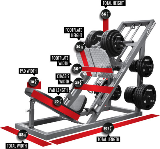 3308 Unilateral Angle Leg Press Dimensions