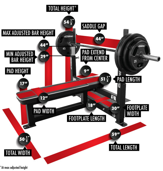 3906 Competition Flat Bench Press Dimensions