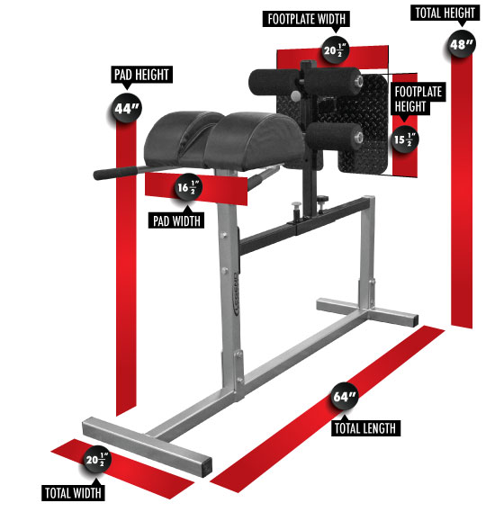 7003 Varsity Glute/Ham Developer GHD Dimensions