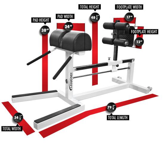 7006 Yessis Glute/Ham/Back Machine Dimensions