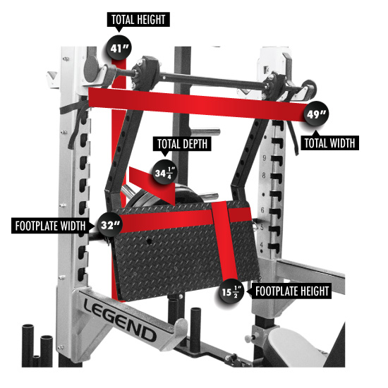 7015 Performance Series Stealth Leg Press Dimensions