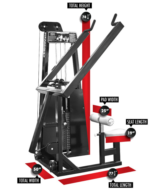 903 Lever Lat Pulldown Dimensions