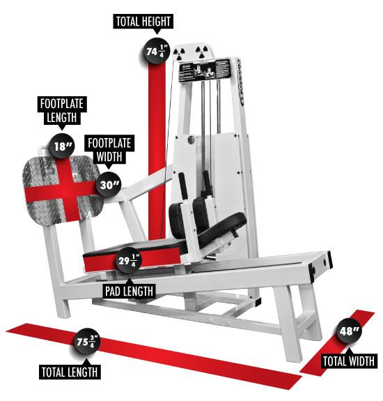 914 Supine Leg Press Dimensions