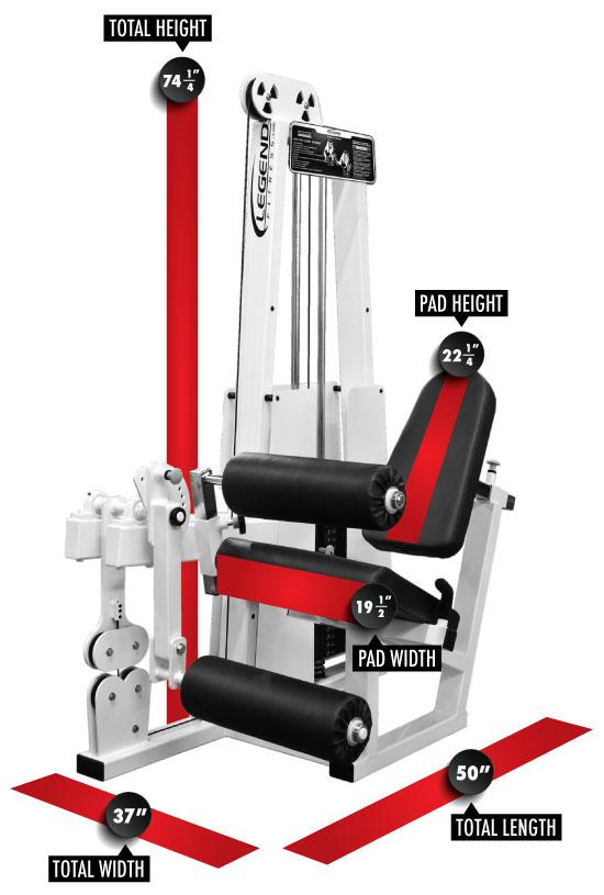 918 Leg Extension/Leg Curl Dimensions