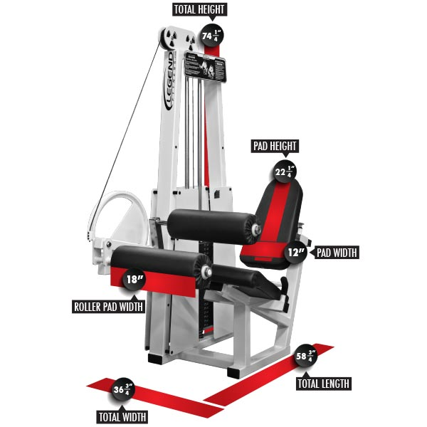 956 Seated Leg Curl Dimensions