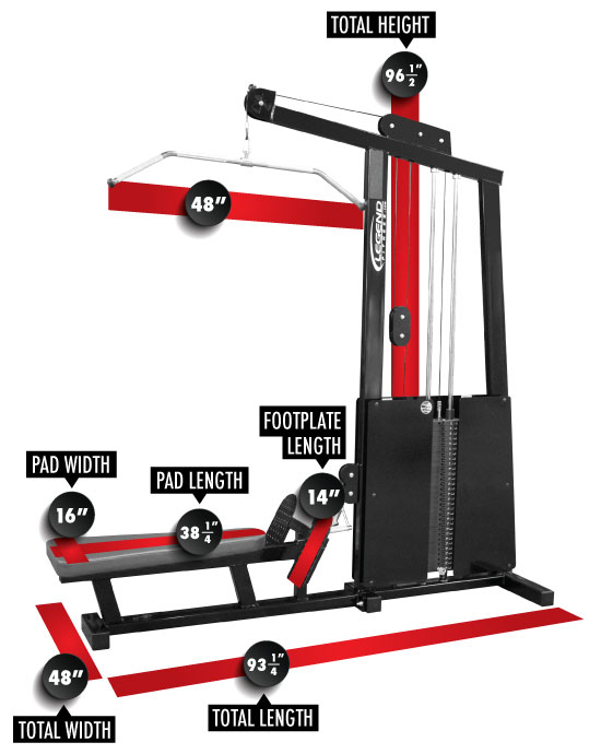 971 PRO SERIES Lat/Low Row Combo Dimensions