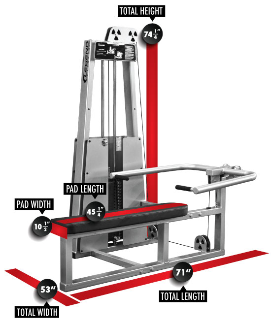 972 Lying Chest Press Dimensions