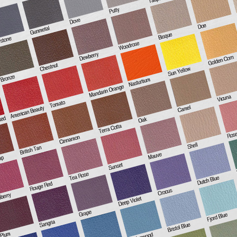A portion of the upholstery color options available from Legend Fitness.