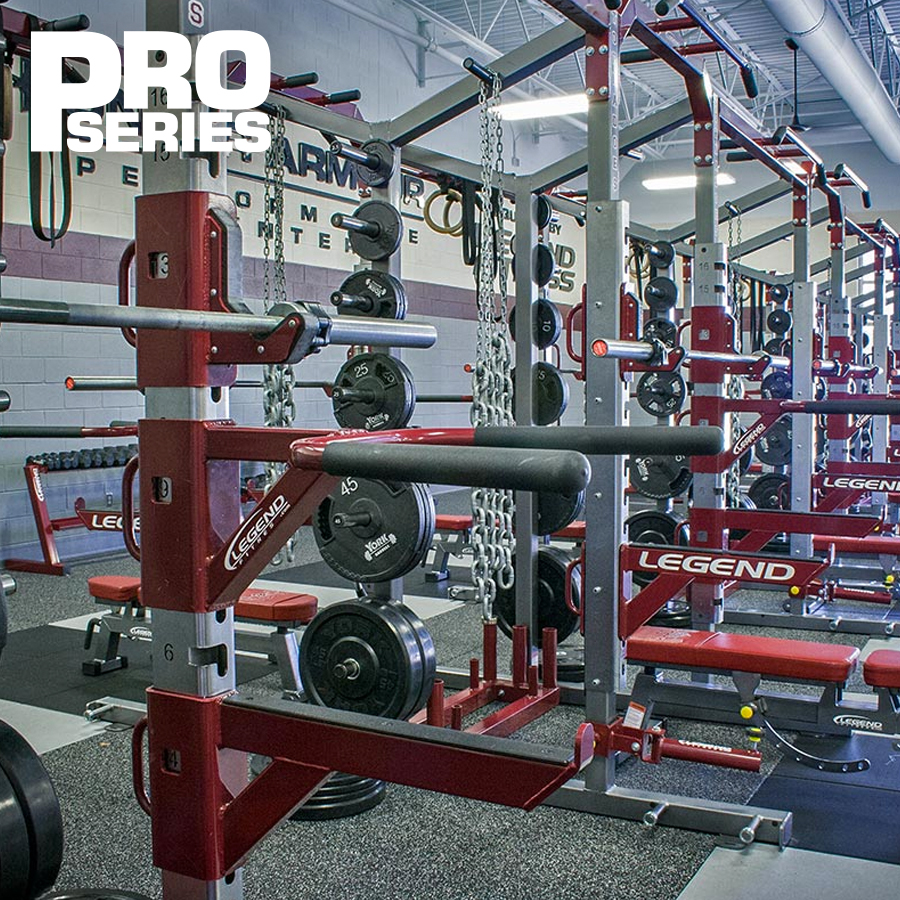 A gym with Pro Series racks, with various attachments and options.